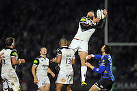 Matt Banahan of Bath Rugby claims the ball in the air. European Rugby Champions Cup match, between Leinster Rugby and Bath Rugby on January 16, 2016 at the RDS Arena in Dublin, Republic of Ireland. Photo by: Patrick Khachfe / Onside Images
