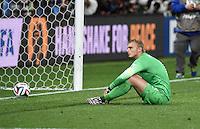 FUSSBALL WM 2014                HALBFINALE Niederlande - Argentinien       09.07.2014 Torwart Jasper Cillessen (Niederlande) ist enttaeuscht