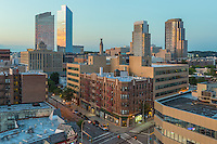A view of the skyline shortly before sunset in White Plains, New York.