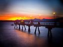 LB00128-00...WASHINGTON - Edmonds Fishing Pier at sunset. Holga image.