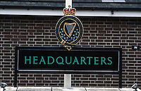 Sign outside headquarters of Royal Ulster Constabulary, Knock Road, Belfast, N Ireland, UK, 19850004a..Copyright Image from Victor Patterson, 54 Dorchester Park, Belfast, UK, BT9 6RJ..Tel: +44 28 9066 1296.Mob: +44 7802 353836.Voicemail +44 20 8816 7153.Skype: victorpattersonbelfast.Email: victorpatterson@mac.com.Email: victorpatterson@ireland.com (back-up)..IMPORTANT: If you wish to use this image or any other of my images please go to www.victorpatterson.com and click on the Terms & Conditions. Then contact me by email or phone with the reference number(s) of the image(s) concerned.
