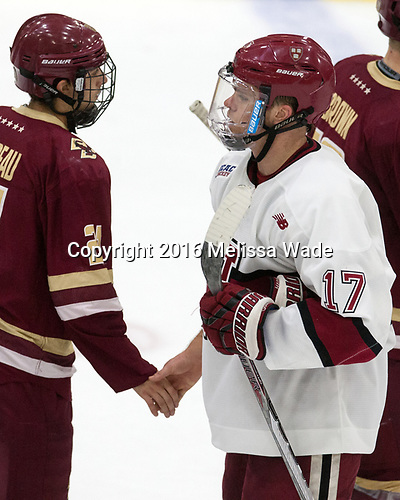 Matthew Gaudreau (BC - 21), Sean Malone (Harvard - 17) - The Harvard University Crimson defeated the visiting Boston College Eagles 5-2 on Friday, November 18, 2016, at the Bright-Landry Hockey Center in Boston, Massachusetts.