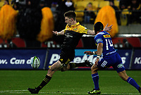 Jordie Barrett clears during the Super Rugby match between the Hurricanes and Stormers at Westpac Stadium in Wellington, New Zealand on Friday, 5 May 2017. Photo: Mike Moran / lintottphoto.co.nz