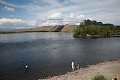 A family swims in the Yenesei River in Tuva Republic, Russia