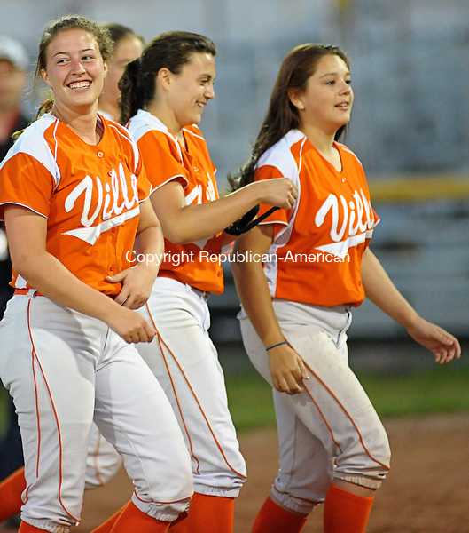 STRATFORD, CT-4 June 2013-060413EC25--   Terryville is all smiles walking off the field after beating Thomaston. The Kangaroos defeated the Golden Bears Tuesday, 7-6 in Stratford.  Erin Covey Republican-American