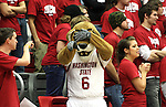 Butch T. Cougar, Washington State University mascot, reacts to a referee's call during the Cougars basketball game at Friel Court in Pullman, Washington, against the Gonzaga Bulldogs on December 10, 2008.  The Zags prevailed in the game 74-52.