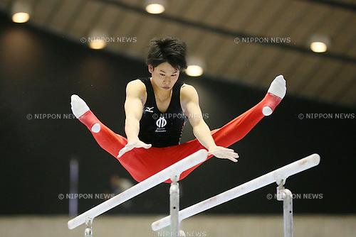 Kazuma Kaya, <br /> MAY 17, 2015 - Artistic Gymnastics : <br /> The 54th NHK Cup <br /> Men's Individual All-Around <br /> Parallel bars <br /> at Yoyogi 1st Gymnasium, Tokyo, Japan. <br /> (Photo by YUTAKA/AFLO SPORT)
