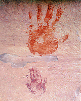 Adult and child handprints, BLM Wilderness Study Area, Utah, unames to protect archeology, ancient native american rock art, May