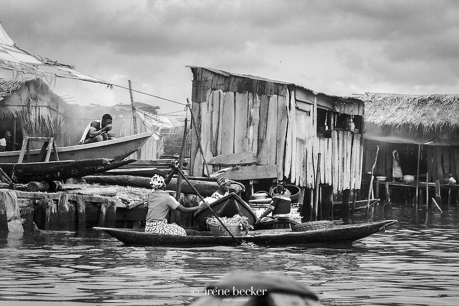 Women sell their goods from early morning until night in small raw boats.