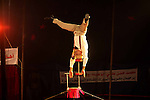 A member of the Egyptian National Circus practices in Gaza City on Oct. 30, 2012. The circus came to Gaza on Friday, accompanied by blaring music, juggling clowns and fire blowers but getting it there required its own high-wire act. No women performers were included for fear of offending conservative Palestinians and the Gaza Strip's militant Hamas rulers, and the circus' lone lion and tiger were left behind because of the high cost of transporting them legally into Gaza. Photo by Ashraf Amra