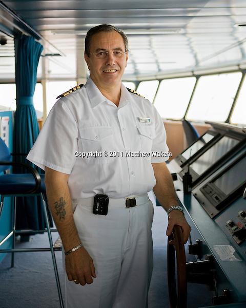 ATLANTIC OCEAN, SOUTH AMERICA : Finland native Captain Leif Karlsson of the cruise ship Amazara Jorney. Atlantic Ocean, South America.