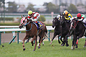 (L-R) Reine Minoru (Kenichi Ikezoe), Rising Reason (Kyosuke Maruta), Soul Stirring ( Christophe Lemaire), Lys Gracieux (Yutaka Take),<br /> APRIL 9, 2017 - Horse Racing :<br /> Reine Minoru ridden by Kenichi Ikezoe wins the Oka Sho (Japanese 1000 Guineas) at Hanshin Racecourse in Hyogo, Japan. (Photo by Eiichi Yamane/AFLO)