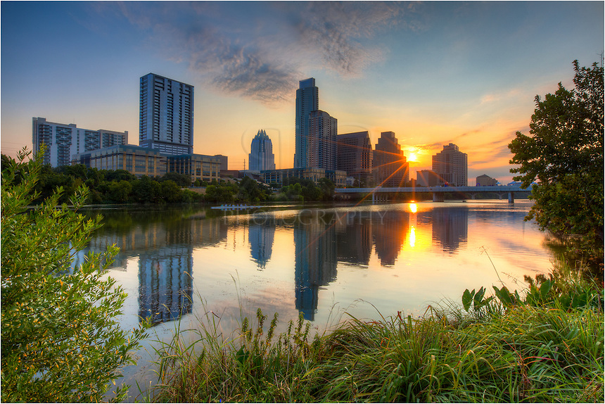 From a lookout along the hike and bike trail at Zilker Park, you have great views of the Austin skyline and Lady Bird Lake. This photograph, taken at sunrise, was very near the Stevie Ray Vaughan statue.