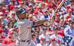 14 April 2013: Atlanta Braves outfielder Justin Upton in action against the Washington Nationals at Nationals Park in Washington, DC. The Braves shut out the Nationals 9-0 to sweep their 3-game series. Mandatory Credit: Ed Wolfstein Photo *** RAW (NEF) Image File Available ***
