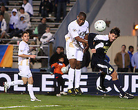 Darlington Naqbe #6 of the University of Akron beats Adam Shaw #5 of the University of Michigan to a header during the 2010 College Cup semi-final at Harder Stadium, on December 10 2010, in Santa Barbara, California. Akron won 2-1.