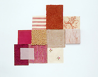 A collection of fabric swatches illustrating the colour range from cherry blossom to fuchsia