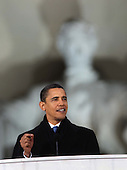 "Washington, DC - January 18, 2009 -- United States President-elect Barack Obama  speaks at the ""We Are One""  The Obama Inaugural Celebration at the Lincoln Memorial on Sunday, January 18, 2009.  .Credit: Dennis Brack - Pool via CNP"