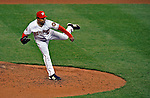 30 March 2008: Washington Nationals' pitcher Odalis Perez delivers a pitch against the Atlanta Braves inaugurating Nationals Park in Washington, DC. The Nationals defeated the Braves 3-2 to open the season, and christen the new state-of-the-art ballpark to a sellout crowd of 39,389...Mandatory Photo Credit: Ed Wolfstein Photo