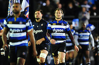 Jack Wilson and the rest of the Bath Rugby team run out onto the field. Anglo-Welsh Cup match, between Bath Rugby and Leicester Tigers on November 4, 2016 at the Recreation Ground in Bath, England. Photo by: Patrick Khachfe / Onside Images