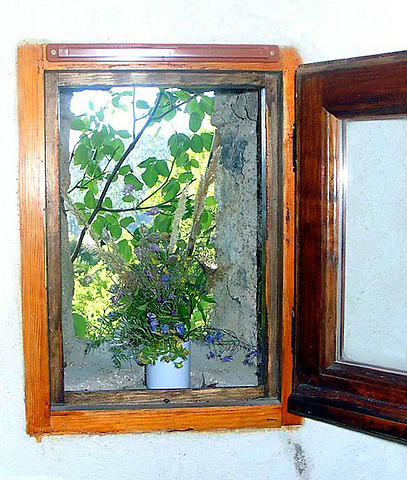 Window in house in French Alps