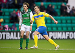 Hibs v St Johnstone...21.01.12.Lee Croft wheels away to celebrate after scoring for saints on his debut.Picture by Graeme Hart..Copyright Perthshire Picture Agency.Tel: 01738 623350  Mobile: 07990 594431
