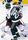 Nick Sucharski (Michigan State - Toronto, ON) and Kyle Kucharski (Boston College - Saugus, MA) collide. The Michigan State Spartans defeated the Boston College Eagles 3-1 (EN) to win the national championship in the final game of the 2007 Frozen Four at the Scottrade Center in St. Louis, Missouri on Saturday, April 7, 2007.