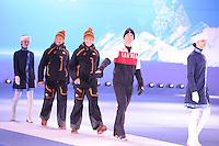 OLYMPICS: SOCHI: Medal Plaza, 13-02-2014, medaille uitreiking, 1000m Men, Michel Mulder (NED), Stefan Groothuis (NED), Denny Morrison (CAN), ©foto Martin de Jong