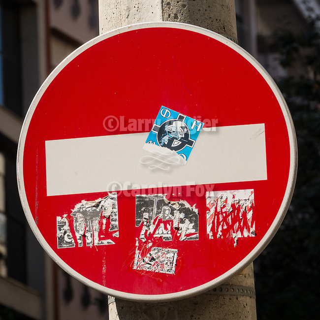 Red &quot;Do Not Enter&quot; sign, In the streets, Alexander Bulivard<br /> <br /> Belgrade, Serbia