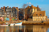 harbour buildings and yaughts. Honfleur, Normandy, France.