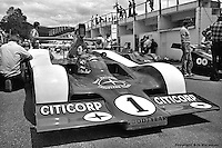 Brian Redman prepares to drive the 1977 Lola Chevrolet Can-Am car at Le Circuit Mont Tremblant/St. Jovite, Quebec, Canada.