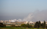 Jabalya, Gaza strip, Jan 06, 2009.(picture taken from the israeli side) .A fierce battle opposes Israeli troops and Hamas fighters in Jabalya; after several hours of fighting, 4 Kassam rockets were fired right from the center of the combat zone towards Sderot in Israel where they landed without casualties. After several weeks of total closure, Israel has launched its most important military operation ever in the Gaza strip, following Hamas' refusal to extend the 6 months truce.