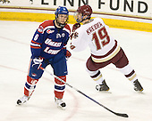 Daniel Furlong (Lowell - 6), Chris Kreider (BC - 19) - The Boston College Eagles defeated the visiting University of Massachusetts-Lowell River Hawks 5-3 (EN) on Saturday, January 22, 2011, at Conte Forum in Chestnut Hill, Massachusetts.