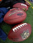 9 December 2007: NFL Footballs lie on the sidelines prior to a game between the Buffalo Bills and the Miami Dolphins at Ralph Wilson Stadium in Orchard Park, NY. The Bills defeated the Dolphins 38-17. ..Mandatory Photo Credit: Ed Wolfstein Photo