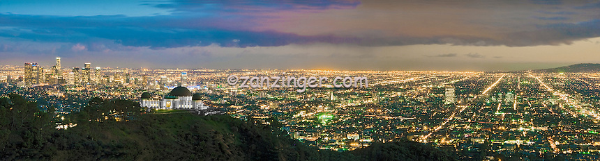 Griffith Observatory, L.A. Skyline, los Angeles CA, Cityscape, Night, Dusk, lit, lights on, beautiful, View, Calif. California