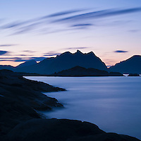 Summer twilight over mountains and sea, Stamsund, Lofoten islands, Norway