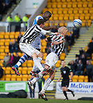 St Johnstone v St Mirren.....23.02.13      SPL.Gregory Tade gets above Jim Goodwin only to see his header hit the post.Picture by Graeme Hart..Copyright Perthshire Picture Agency.Tel: 01738 623350  Mobile: 07990 594431