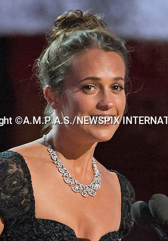 26.02.2017; Hollywood, USA: ALICIA VIKANDER<br /> at The 89th Annual Academy Awards at the Dolby&reg; Theatre in Hollywood.<br /> Mandatory Photo Credit: &copy;AMPAS/NEWSPIX INTERNATIONAL<br /> <br /> IMMEDIATE CONFIRMATION OF USAGE REQUIRED:<br /> Newspix International, 31 Chinnery Hill, Bishop's Stortford, ENGLAND CM23 3PS<br /> Tel:+441279 324672  ; Fax: +441279656877<br /> Mobile:  07775681153<br /> e-mail: info@newspixinternational.co.uk<br /> Usage Implies Acceptance of Our Terms &amp; Conditions<br /> Please refer to usage terms. All Fees Payable To Newspix International