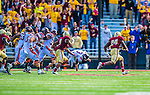 2 November 2013: Boston College Eagles linebacker Kevin Pierre-Louis (24) runs his interception into the end zone for a touchdown and a 27-20 lead against the Virginia Tech Hokies in the fourth quarter at Alumni Stadium in Chestnut Hill, MA. The Eagles defeated the Hokies 34-27. Mandatory Credit: Ed Wolfstein-USA TODAY Sports *** RAW (NEF) Image File Available ***
