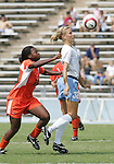 24 September 2006: UNC's Kristi Eveland (32) and Miami's Danielle Grieble (l). The University of North Carolina Tarheels defeated the University of Miami Hurricanes 6-1 at Fetzer Field in Chapel Hill, North Carolina in an NCAA Division I women's soccer game.
