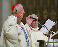 Cardinal Marc Ouellet takes part into his farewell Mass in Sainte-Anne-de-Beaupre Basilica, 45 minutes East of Quebec City, August 15 2010. Cardinal Ouellet leaves Quebec for Vatican, as we was recently named Prefect of the Congregation for Bishops and President of the Pontifical Commission for Latin America.