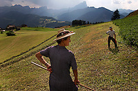 La Valle is made up of a Ladino culture where the people have their own language.  They have close ties to the old ways--raking hay by hand.  A boy and his aunt strike similar poses while resting.<br /> <br /> Two brothers and a sister Andrea, Irma and Guiseppe Costabiei (all unmarried) live together farming on property that has been in the family for generations.  La Valle is made up of a Ladino culture where the people have their own language.  They have close ties to the old ways--raking hay by hand.