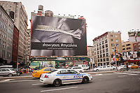 A Calvin Klein billboard in the Soho neighborhood of New York on Sunday, March 30, 2014. Klein's advertisements use sex and provocative images to test society's cultural and moral boundaries. (© Richard B. Levine)
