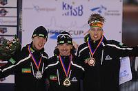 SCHAATSEN: DEVENTER: IJsbaan De Scheg, 27-10-12, IJsselcup, podium 5000m, Jorrit Bergsma, Bob de Jong, Robert Bovenhuis, ©foto Martin de Jong