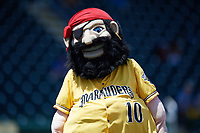 Bradenton Marauders mascot Marty during a game against the Charlotte Stone Crabs on April 9, 2017 at LECOM Park in Bradenton, Florida.  Bradenton defeated Charlotte 5-0.  (Mike Janes/Four Seam Images)