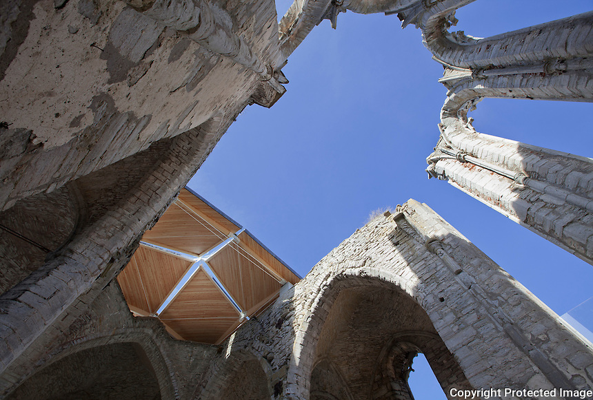 St.Nicolai (St.Nicolaus) church ruins, Visby, Gotland, Sweden. Built 1230. Concert hall adaption and new roof , 2012 Architect:  Exners Tegnestue A/S,  Engineer: S&oslash;ren Jensen
