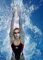 Katharina Stiberg , Norwegian national swimming team training in an outdoor  pool. Frognerbadet, Oslo, Norway..&copy; Fredrik Naumann/Felix Features