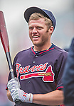 4 April 2014: Atlanta Braves second baseman Tyler Pastornicky awaits his turn in the batting cage prior to the Washington Nationals Home Opening Game at Nationals Park in Washington, DC. The Braves edged out the Nationals 2-1 in their first meeting of the 2014 MLB season. Mandatory Credit: Ed Wolfstein Photo *** RAW (NEF) Image File Available ***