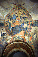 Twelfth Century Romanesque fresco of Christ Pentocrator (In Majesty) from the Apse of the church of Sant Vicenc *Vincent) de Cardona, Barges, Spain. Painted around 1200. National Art Museum of Catalonia, Barcelona. MNAC 200715