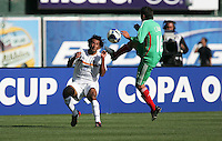 Armando Reyes (6) faces the foot of Carlos Esquivel (16). Mexico defeated Nicaragua 2-0 during the First Round of the 2009 CONCACAF Gold Cup at the Oakland Coliseum in Oakland, California on July 5, 2009.