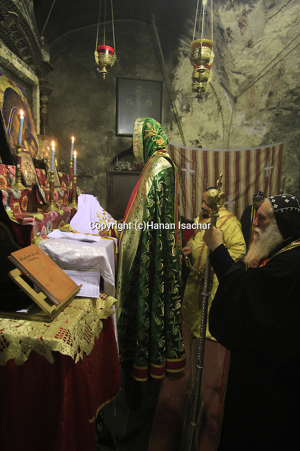 Israel, Jerusalem Old City, Syrian Orthodox Archbishop Mar Malki Murad at the Chapel of St. Joseph of Arimathea and St. Nicodemus in the Church of the Holy Sepulchre